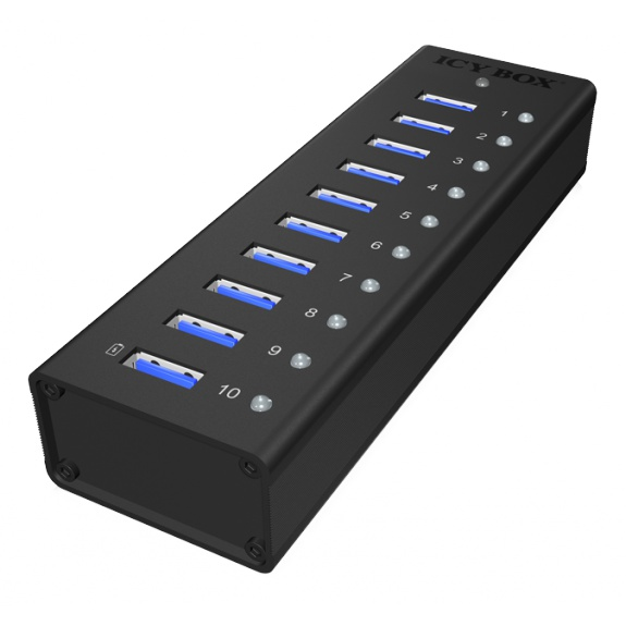 ICY BOX USB 3.0 Hub, 10 port, charging port, alu, w PSU