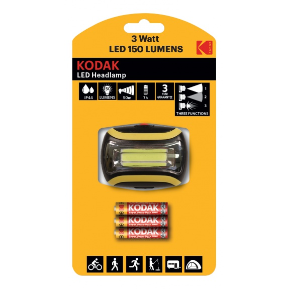 Kodak LED Headlamp, 150lm, 3 modes, 3W single LED, IP44, black